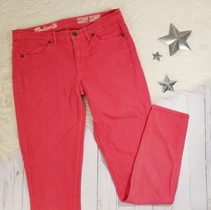 Madewell salmon red skinny skinny jeans size 27